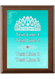 Custom Full Color Plaque.  Brown plaque with full color plate. 5 Plaques sizes available - Crown 06