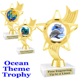 """Ocean theme trophy.  Great for """"Under the Sea"""" events!  (ph27)"""