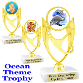 """Ocean theme trophy.  Great for """"Under the Sea"""" events!  (ph28)"""