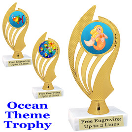 """Ocean theme trophy.  Great for """"Under the Sea"""" events!  (ph102)"""