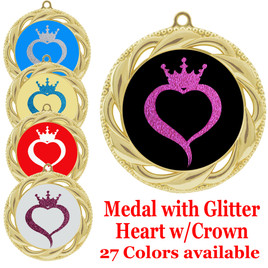 Glitter heart with crown insert medal.  Choice of 27 colors.  (938)
