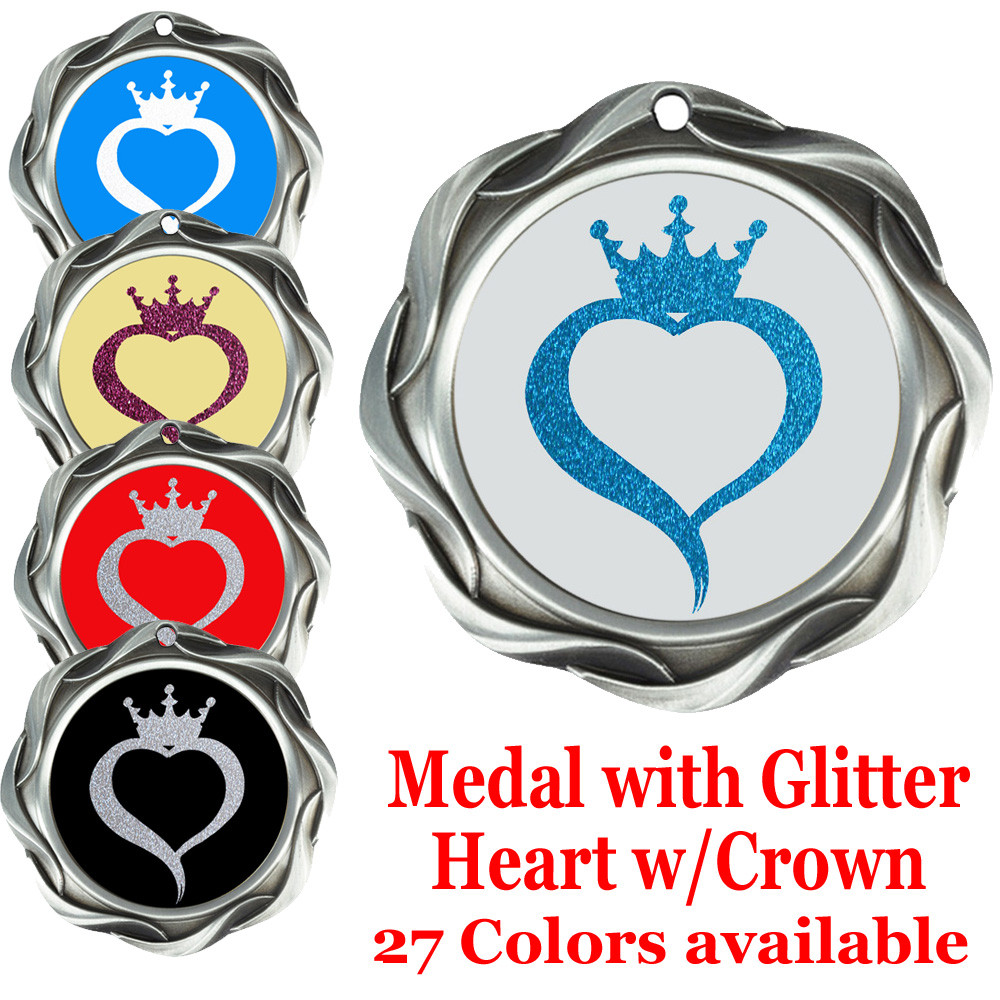 Glitter heart with crown insert medal  Choice of 27 colors  Silver medal  43573