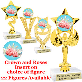 Crown and Roses insert with choice of figure.  22 figures available.