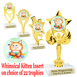 Adorable Kitten Trophy.  Whimsical kitten  insert with choice of figure.  22 figures available.