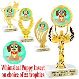 Adorable Puppy Trophy.  Whimsical puppy  insert with choice of figure.  22 figures available.