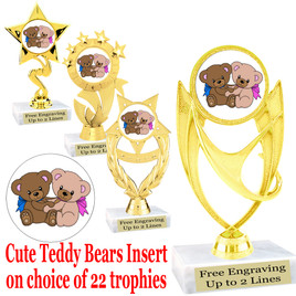 Cute Teddy Bears Trophy.  Whimsical teddy bears  insert with choice of figure.  22 figures available.