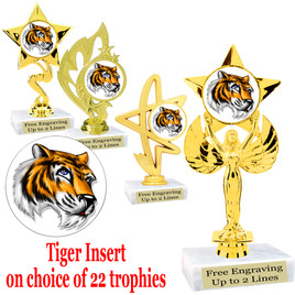Tiger Trophy.  Beautiful Tiger  insert with choice of figure.  22 figures available.