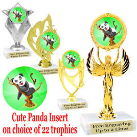 Cute Panda Trophy.  Panda  insert with choice of figure.  22 figures available.