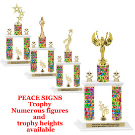 Peace Sign 2-Column trophy.  Numerous trophy heights and figures available