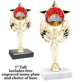 """Crown and Roses trophy with choice of base.  7"""" tall"""