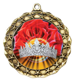 Hologram Crown and Roses Medal.  Includes free engraving and neck ribbon.