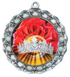 Hologram Crown and Roses Silver Medal.  Includes free engraving and neck ribbon.