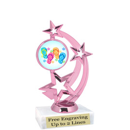 """Flip Flops trophy with choice of base.  6  1/2 """" tall -663p"""