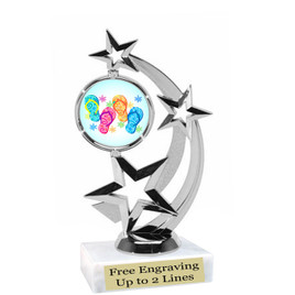 """Flip Flops trophy with choice of base.  6  1/2 """" tall -663s"""
