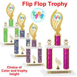 Flip Flop theme 2 Column Trophy trophy.    Choice of column color.  Numerous trophy heights available.  (ph102