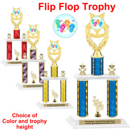 Flip Flop theme 2 Column Trophy trophy.    Choice of column color.  Numerous trophy heights available.  (ph97