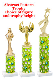 Birds &  Flowers  pattern  trophy with choice of trophy height and figure (003)