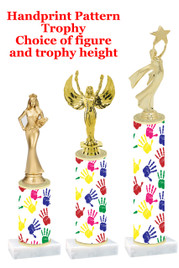 Handprint  pattern  trophy with choice of trophy height and figure (001)