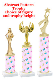 Cupcake  pattern  trophy with choice of trophy height and figure (015