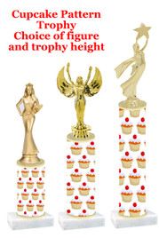 Cupcake  pattern  trophy with choice of trophy height and figure (016