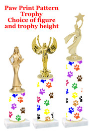 Paw Print  pattern  trophy with choice of trophy height and figure (019