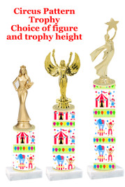 Circus  pattern  trophy with choice of trophy height and figure (020