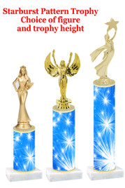 Starburst  pattern  trophy with choice of trophy height and figure (023