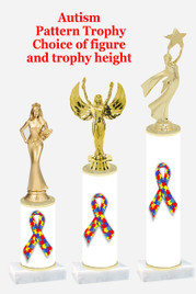 Autism  pattern  trophy with choice of trophy height and figure (031
