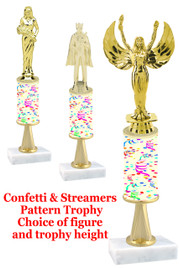 Confetti & Streamers  pattern  trophy with choice of trophy height and figure (033stem