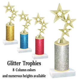 Glitter Column trophy with choice of glitter color, trophy height and base.