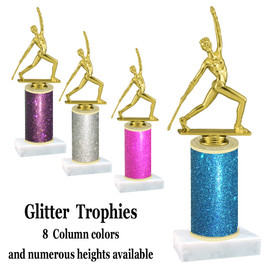 Glitter Column trophy with choice of glitter color, trophy height and base.  (baton)