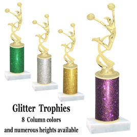Glitter Column trophy with choice of glitter color, trophy height and base.  (4506)