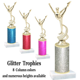 Glitter Column trophy with choice of glitter color, trophy height and base.  (4526