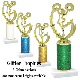 Glitter Column trophy with choice of glitter color, trophy height and base.  (90455