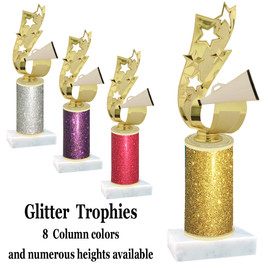 Glitter Column trophy with choice of glitter color, trophy height and base.  (cheer ribbon