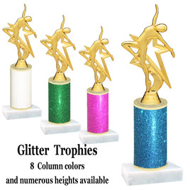 Glitter Column trophy with choice of glitter color, trophy height and base.  (5009