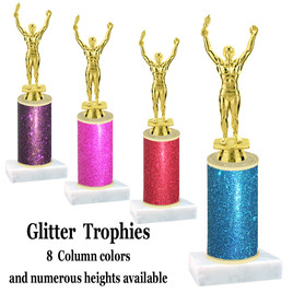 Glitter Column trophy with choice of glitter color, trophy height and base.  Male Victory