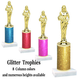 Glitter Column trophy with choice of glitter color, trophy height and base.  Queen