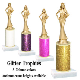 Glitter Column trophy with choice of glitter color, trophy height and base.  SR. Queen