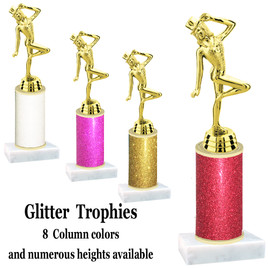 Glitter Column trophy with choice of glitter color, trophy height and base.  Dancer