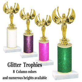 Glitter Column trophy with choice of glitter color, trophy height and base.  Victory