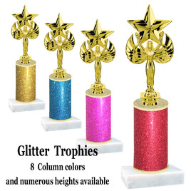 Glitter Column trophy with choice of glitter color, trophy height and base.  Victory with star