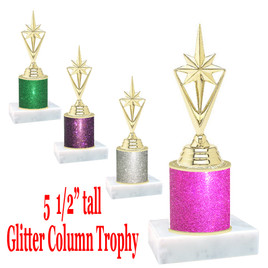 "Glitter Column trophy with choice of glitter color.  5  1/2""  tall - great for side awards, participation and more!  Pointed Star"