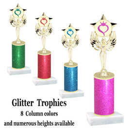 Glitter Column trophy with choice of glitter color, trophy height and base.  (MF1080)