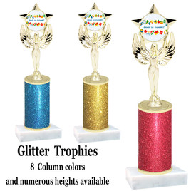 School theme  Glitter Column trophy with choice of glitter color, trophy height and base.  (MF1080)