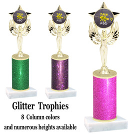 School theme  Glitter Column trophy with choice of glitter color, trophy height and base.  (MF1080) 2