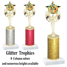 School theme  Glitter Column trophy with choice of glitter color, trophy height and base.  (MF1080) 4
