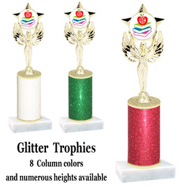 School theme  Glitter Column trophy with choice of glitter color, trophy height and base.  (MF1080) 5