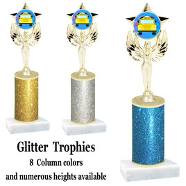 School theme  Glitter Column trophy with choice of glitter color, trophy height and base.  (MF1080) 6