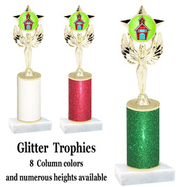 School theme  Glitter Column trophy with choice of glitter color, trophy height and base.  (MF1080) 7